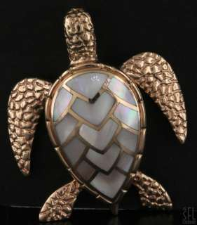 HEAVY 14K ROSE GOLD MOTHER OF PEARL SEA TURTLE PENDANT W/ MOVING