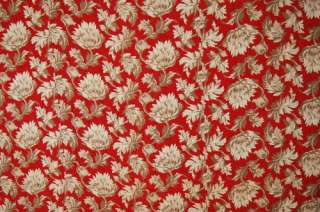 Vintage Red & Khaki Tan Floral Fabric Wholecloth Antique Quilted c