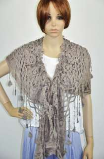 Cotton Gentle Elegant Hand Knit Lace Scarf Shawl Wrap Womens Beige