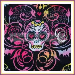 BOOAK Fabric B&W Wild Harley Girl *Retro SKULL Pink Black Flannel