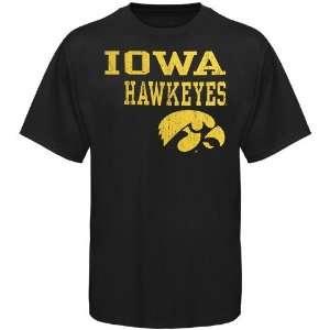 Iowa Hawkeye T Shirt  Iowa Hawkeyes Black Stacked T Shirt