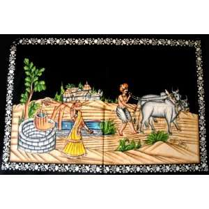 Indian Traditional Village Farmers Scene Sequin Batik Cotton Wall
