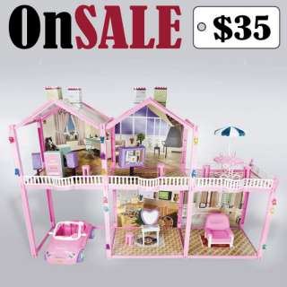 Children Toy House Fits Barbie Size Doll Furnitures 2.5 Ft Girl