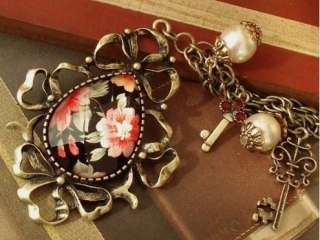Crystal Flower Drop Pendant Pearl Key Long Chain Necklace XL115