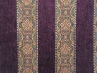 Paisley Damask Brocade Stripe, Color Eggplant, Fabric Remnant