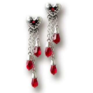 Alchemy Gothic Pewter Red Swarovski Crystals Bleeding Heart Skull