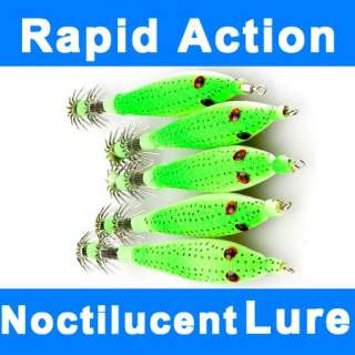 Noctilucent High Quality Squid Fishing Lures Tackle Bait VCM Hook 95mm
