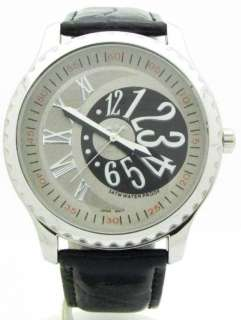 MENS LARGE BLACK & BROWN DIAL WATCH GENUINE LEATHER STRAP
