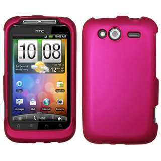 HTC Wildfire S G13 T Mobile Pink Rubberized Hard Case Cover +Screen