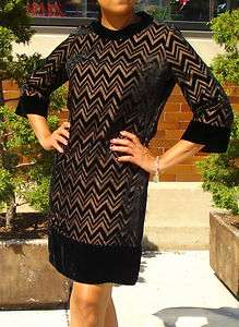1960S BLACK VELVET SHEER CHEVRON ZIG ZAG MOD DRESS SMALL MEDIUM