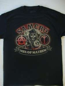 SONS OF ANARCHY SAMCRO MEN OF MAYHEM MENS T SHIRT NWT AVAILABLE IN S