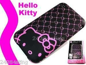 GENUINE HELLO KITTY WRAP HARD BACK SKIN CASE BLACK DESIGNER COVER for