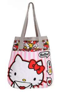 New Hello Kitty Loves Pink and White Stripe Tote bag