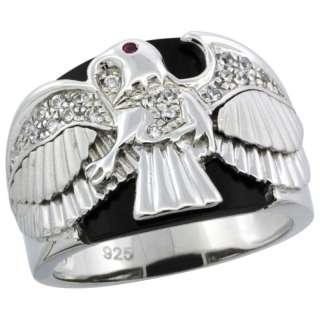 Sterling Silver Mens Black Onyx American Eagle Ring w/ CZ Stones, 5/8
