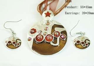 Noblest Gemstone Jewelry Rounded Necklace Pendant Earrings Set Hot