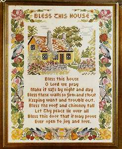 Vintage Bless This House Stamped Cross Stitch Kit