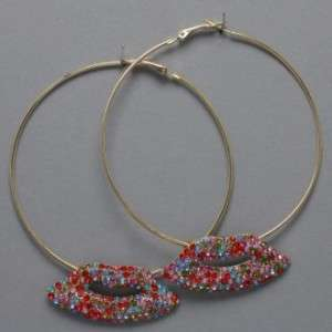 Basketball Wives inspired Crystal Lip Hoop Earrings HOT