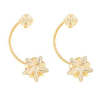Childs Cubic Zirconia Cross Stud Earrings with Threaded Post. 14K