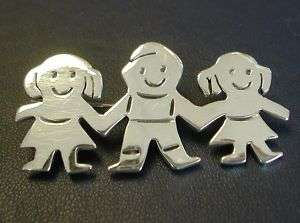 STERLING SILVER 3 CHILDREN/KIDS HIGH POLISH FINISH PIN