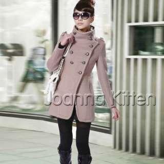 New fashion Korean Womens Wool Long Trench Jacket Coat