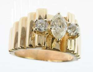 LADIES 14K YELLOW GOLD DIAMOND THREE STONE ESTATE RING 75278