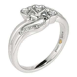 Silver + 24KT yellow Gold heart .03 ct t.w. Diamond Triple Heart Ring