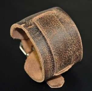 Thick Wide Genuine Leather Wrap Around Bracelet Wristband Brown
