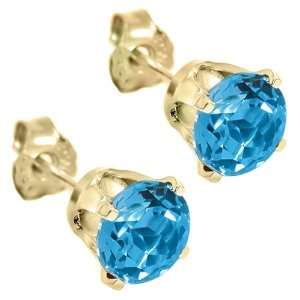 1.20 Ct Round 5mm Topaz 14K Yellow Gold Stud Earrings Jewelry