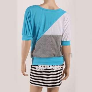 Sexy Womens Batwing short Sleeve Tops Stripe T shirt Japan Blouse 2