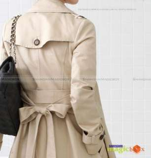 New Women Double Breasted Long Trench Coat Jacket #011