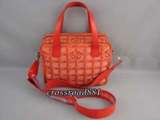 Auth Chanel Red New Travel Line 2 Way Bag Great