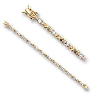 7 Inch Clear Cubic Zirconia Brass Gold Plated Bracelet AM