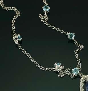New 10K White Gold Neptune Blue Topaz Pear Pendant Chain Necklace