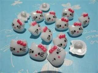 100x Fushia Bow Hello Kitty 14mm Plastic Buttons
