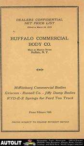 1923 Ford Model T Buffalo Truck Body Prices Brochure