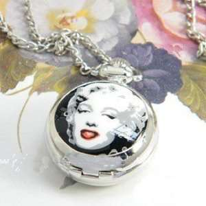 Red Lips Picture of Marilyn Monroe Watch Necklace Arabic Number White