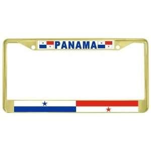 Panamanian Flag Gold Tone Metal License Plate Frame Holder Automotive