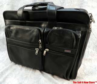 TUMI BLACK LEATHER BAG CASE FILE FOLDER BRIEFCASE ATTACHE LAPTOP