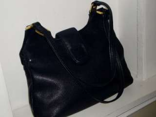 BERNINI Vintage Navy Blue Leather Hobo Shoulder Bag Handbag Tote Purse