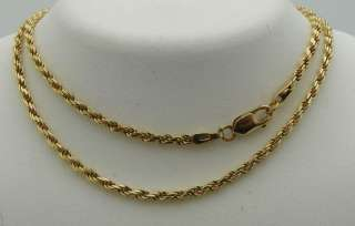 ROPE 18 INCH LONG NECKLACE SOLID 14K GOLD, 6.5g