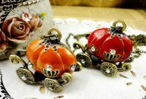 Retro style bronze crystal PUMPKIN CARRIAGE necklace pendant