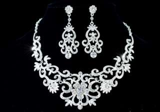 Party Vintage Style Queen Crystal Necklace Earrings Set AS1183