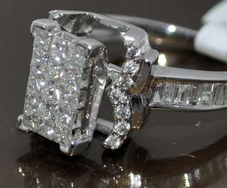 1ct Ring Engagement Wedding 14K White Gold Princess cut with Round