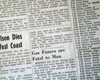 AL JOLSON The Jazz Singer   Comedian DEATH 1950 Newspaper |
