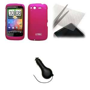 EMPIRE Hot Pink Rubberized Hard Case Cover + Universal