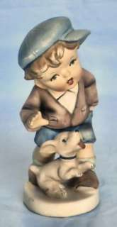 VTG BISQUE Porcelain BOYS BEST FRIEND Figurine JAPAN