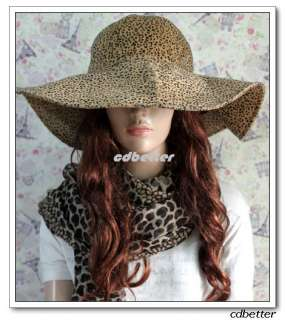 Quality leopard print pattern wide brim hat,