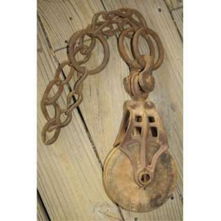 Antique Cast Iron Wood Barn Farm Hay Pulley Tool w/Primitive Hand