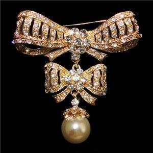 Dual Bowknot Flower Brooch Pin Austrian Rhinestone Crystal Faux Pearl