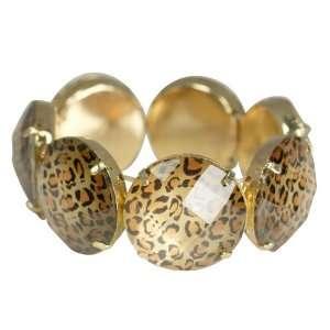 Leopard Print Gold Tone Stretch Bracelet Celebrity Silver